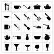 Set icons of dishware and kitchen accessories — Stock Vector