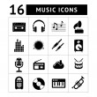 Set icons of music and sound — Stock Vector