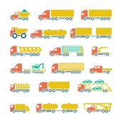 Set flat icons of trucks, trailers and vehicles — Stock Vector