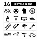 Set icons of bicycle, biking, bike parts and equipment — Vettoriale Stock