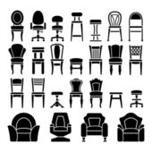 Set icons of chairs — Stock Vector