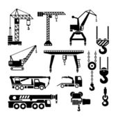 Set icons of crane, lifts and winches — Stock Vector