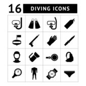 Set icons of diving — Stock Vector