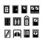 Set icons of doors — Stock Vector #45995217