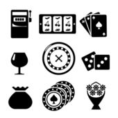 Set icons of casino — Stock Vector