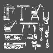 Set icons of crane, lifts and winches — Stockvektor