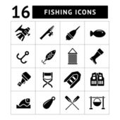 Set icons of fishing — Stock Vector