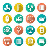 Set flat icons of heating — Stock Vector