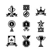 Set icons of awards and trophy — 图库矢量图片