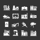 Set icons of industrial and factory — Stock Vector
