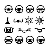 Set icons of steering wheel, marine steering, helm, bicycle and motorcycle handlebar — Stock Vector