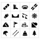 Set icons of skiing and snowboarding — 图库矢量图片
