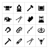 Set icons of forge — Stock Vector