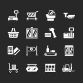 Set icons of retail and supermarket equipment — Stock Vector