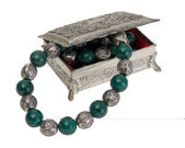 Vintage Jewelry Box with Green and Silver Necklace — Stock Photo