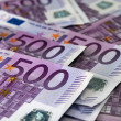 Stock Photo: Many 500 Euro banknotes