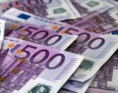 Many 500 Euro banknotes — Stock Photo