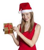 Christmas woman with gift — Stock Photo