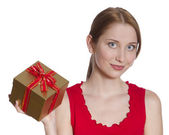 Surprised Young Woman with Gift Box — Stock Photo