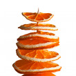 Decorative tree from orange slices on a white background — Stock Photo