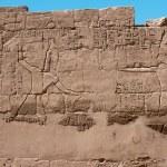 Egyptian hieroglyphs on the wall of Karnak temple — Stock Photo #34632393