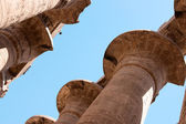 Egyptian hieroglyphs on the columns of Karnak temple — Stockfoto