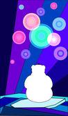 Polar bear looking at the northern lights — Stock Vector