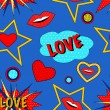 Pop art love pattern — Vecteur