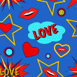 Pop art love pattern — Stockvector