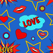 Pop art love pattern — Vettoriale Stock