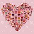 Heart made of love icons — Stock Vector #37994373
