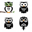 Decorative vector owls — Vettoriale Stock