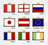 Suitcase. Flags of the world — Stock Vector