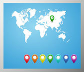 Vector map of the world and map navigation icons and pin on white background — Vecteur