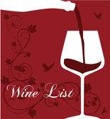 Wine list. Sample text. Pouring wine concept. Wine label design — Stock Vector