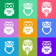Decorative Vector Owls. Style metro — 图库矢量图片