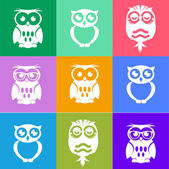 Decorative Vector Owls. Style metro — Stock Vector