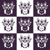 Decorative Vector Owls. Style metro — Stock Vector