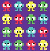 Pixel art. monsters. Seamless background — Vettoriale Stock