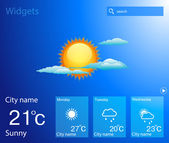 Vector weather widget. sun and clouds — Vector de stock