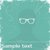 Vector man with glasses. Sample text — Stock Vector