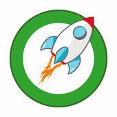 Vector rocket cartoon. Flat style — Vector de stock