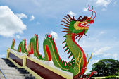Dragon on banisters in Buddhist temple — Stock Photo