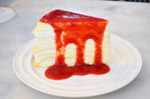 Vanilla Crepe cake with Strawberry Sauce — ストック写真