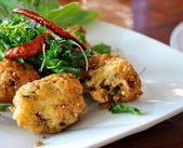 Thai style fried spicy minched pork - Lab moo tod — Stock Photo