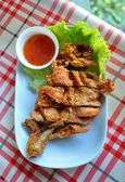 Thai style fried chicken with sticky rice — Photo