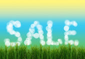 Word Sale with fresh grass — Stock Photo