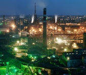 Panorama of night view  of industrial metallurgical  plant — Stok fotoğraf