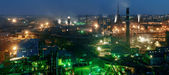 Panorama of night view  of industrial metallurgical  plant — Stock Photo