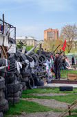 DONETSK, UKRAINE, 19 APRIL 2014,  demonstrators blockade of done — Stock Photo